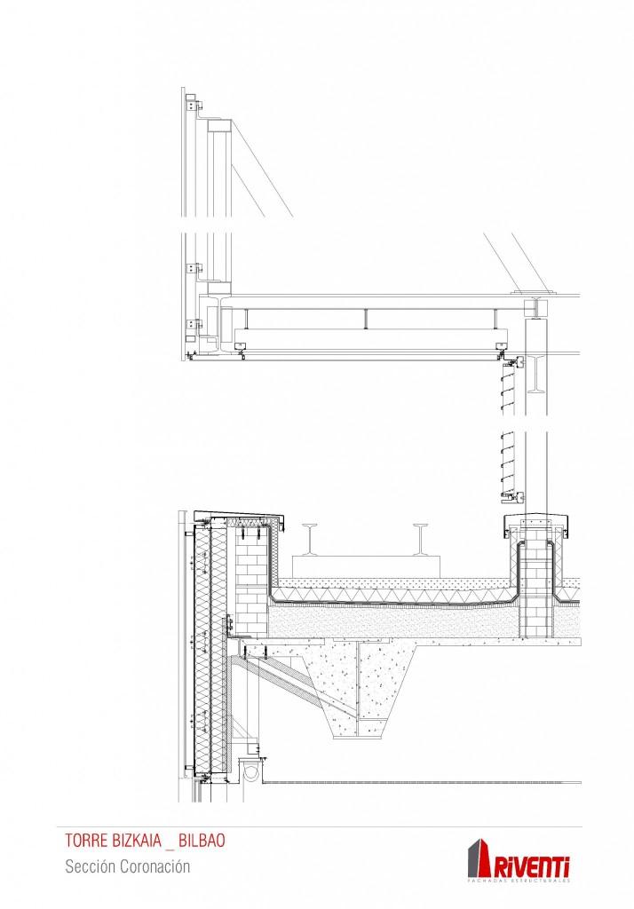 Sección coronación Torre Bizkaia