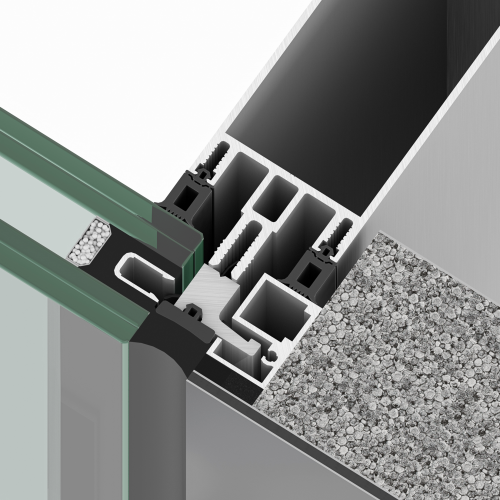 Sistema de muro cortina R50SG de Riventi para fachadas