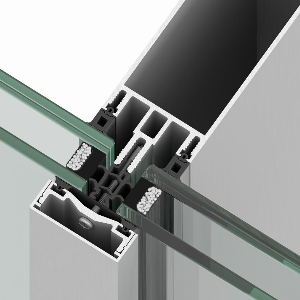 Sistema de muro cortina R50T de Riventi para fachadas