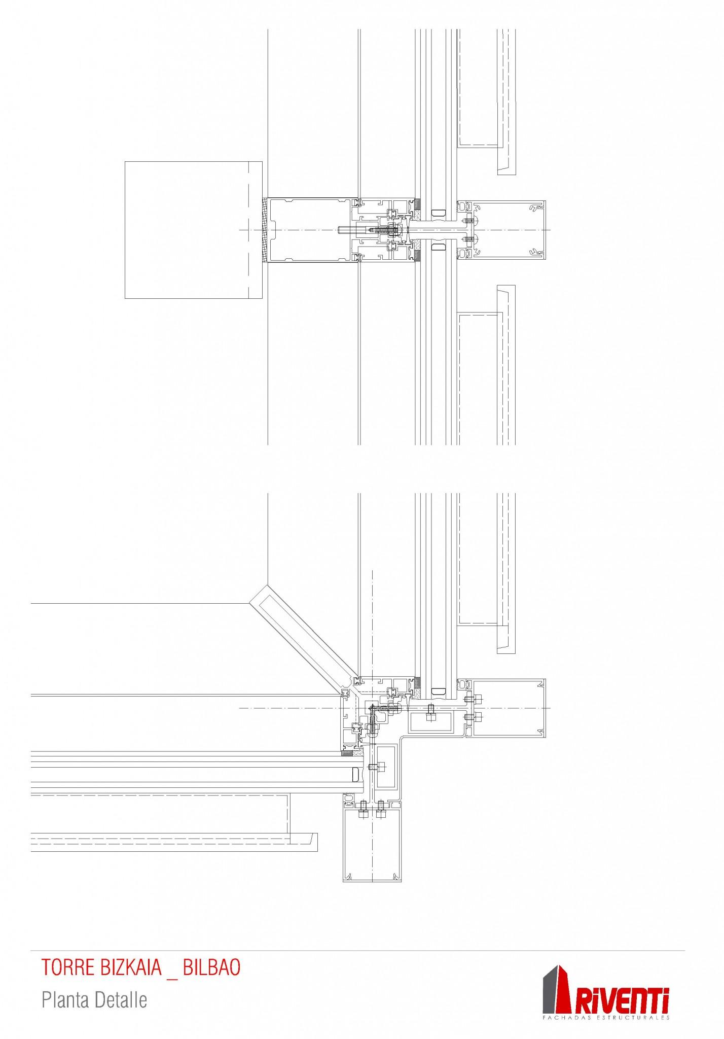 Planta detalle fachada Torre Bizkaia