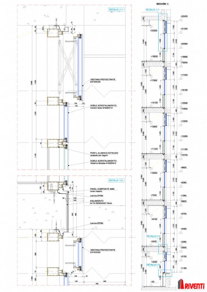 Detalle Constructivo Fachada Muro cortina Fundación Pascual Maragall Sección fachada