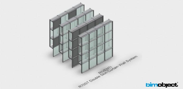 Modelo BIM para Sistema de Muro cortina para Doble piel de vidrio