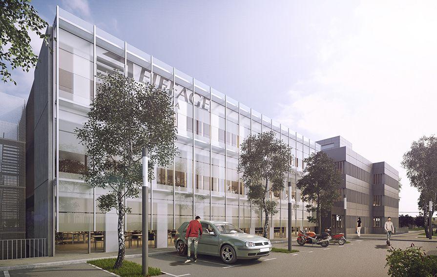 Fachada de doble piel de muro cortina para la nueva sede de Eiffage energía.